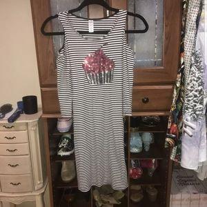 Girls justice cupcake cold shoulder dress! size 12